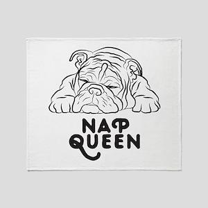 Napping Bulldog Throw Blanket