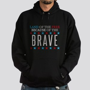 Land of the Free Because of the Brave Hoodie (dark