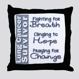 Breathe-Hope-Change Lung Cancer Survi Throw Pillow