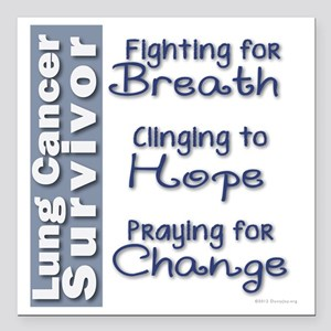 """Breathe-Hope-Change Lung Square Car Magnet 3"""" x 3"""""""