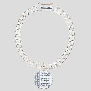 Breathe-Hope-Change Lung Charm Bracelet, One Charm
