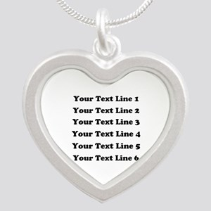 Customize Six Lines Text Silver Heart Necklace