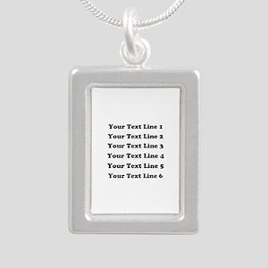 Customize Six Lines Text Silver Portrait Necklace