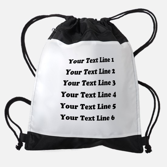 Customize Six Lines Text Drawstring Bag