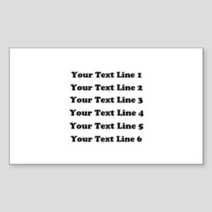 Customize Six Lines Text Sticker (Rectangle)