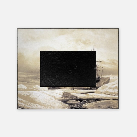 Ship stuck in Antarctic ice, artwork Picture Frame