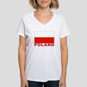 Poland Flag Women's V-Neck T-Shirt