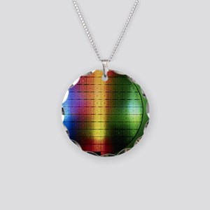 Semiconductor wafer Necklace Circle Charm