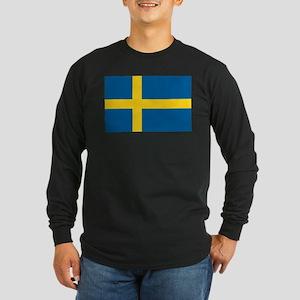 Sweden Flag Long Sleeve Dark T-Shirt