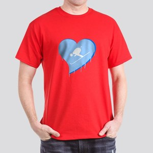 Love Skier Ice Heart Dark T-Shirt