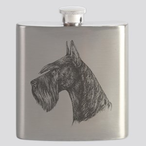 Giant Schnauzer Head Profile Flask