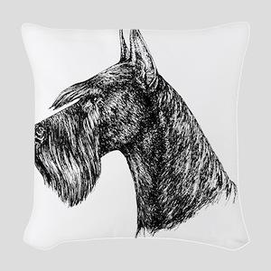 Giant Schnauzer Head Profile Woven Throw Pillow