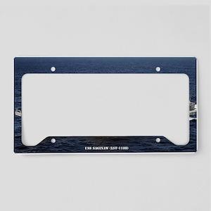 uss saginaw large framed prin License Plate Holder