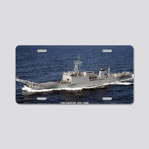 uss saginaw large framed pr Aluminum License Plate