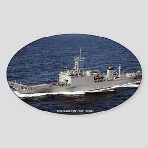 uss saginaw large framed print Sticker (Oval)