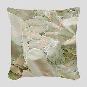 Rose quartz crystals, SEM Woven Throw Pillow