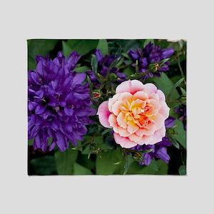 Rose flower and clustered bellflower Throw Blanket