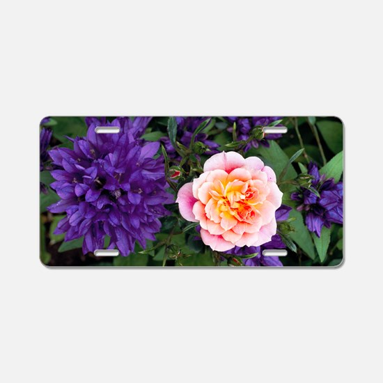 Rose flower and clustered b Aluminum License Plate