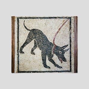 Roman guard dog mosaic Throw Blanket
