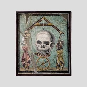 Roman memento mori mosaic Throw Blanket