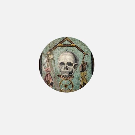 Roman memento mori mosaic Mini Button
