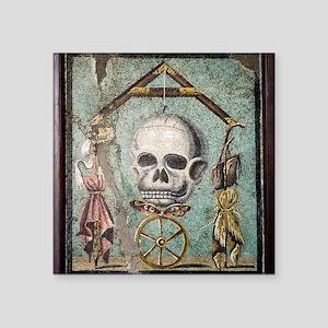 "Roman memento mori mosaic Square Sticker 3"" x 3"""