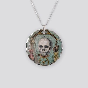 Roman memento mori mosaic Necklace Circle Charm