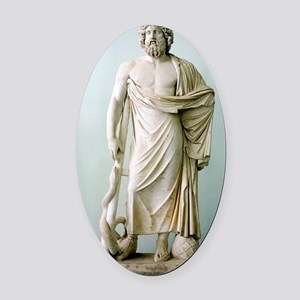 Roman statue of Asclepius Oval Car Magnet