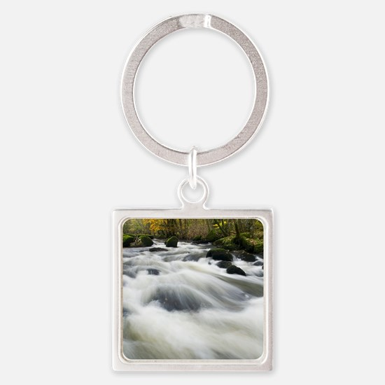 River Teign in autumn, Devon Square Keychain