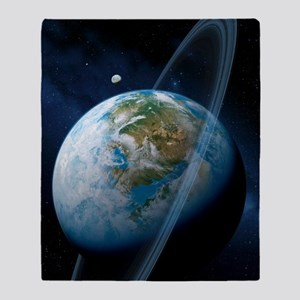 Ringed Earth-like planet, artwork Throw Blanket