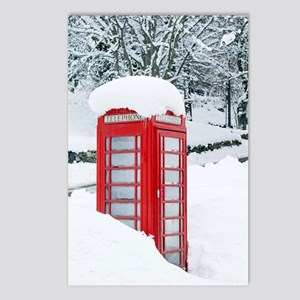 Red telephone box in heav Postcards (Package of 8)