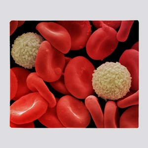 Red and white blood cells, SEM Throw Blanket