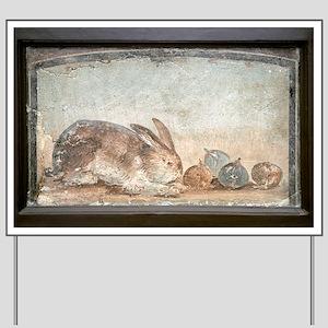 Rabbit and figs, Roman fresco Yard Sign