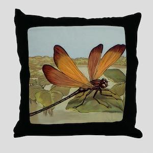 Art Deco Dragonfly Throw Pillow