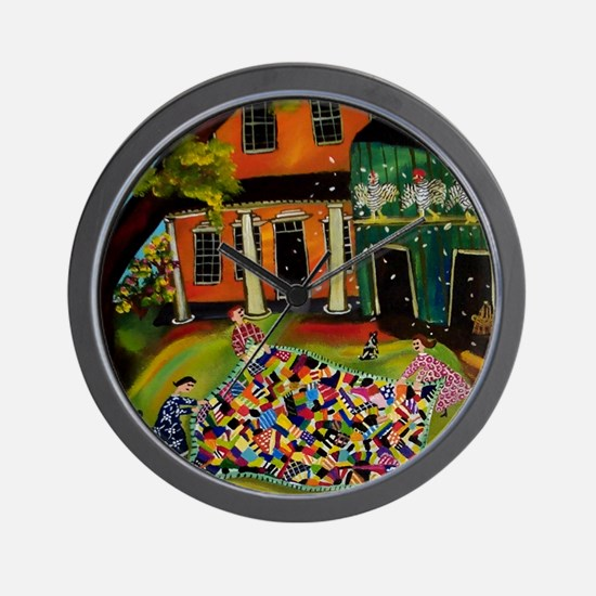 Fluffing Like Crazy Quilt Wall Clock