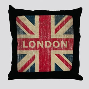SquareUnionJack1 Throw Pillow