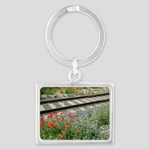 Poppies beside a rail track Landscape Keychain