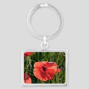 Poppies (Papaver rhoes) and gra Landscape Keychain