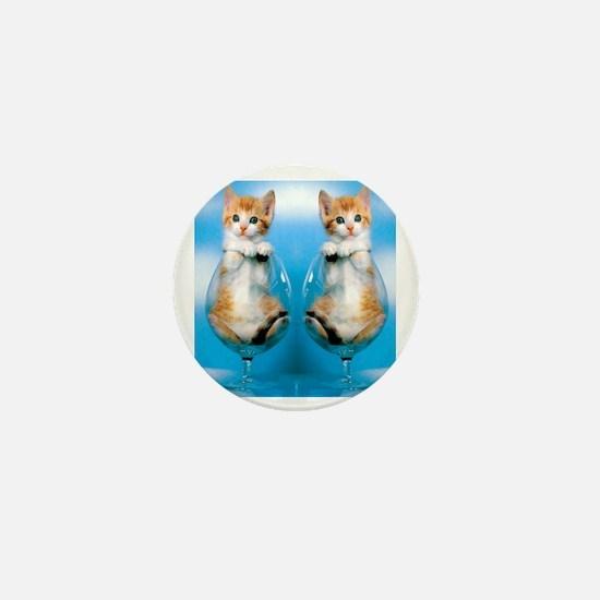 Orange Kitten in Class Flip Flops Mini Button