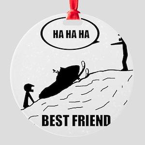Friend / Best Friend Back Black Round Ornament