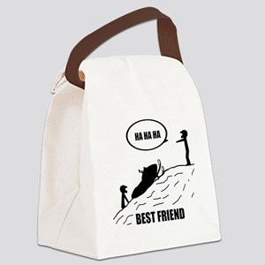 Friend / Best Friend Back Black Canvas Lunch Bag