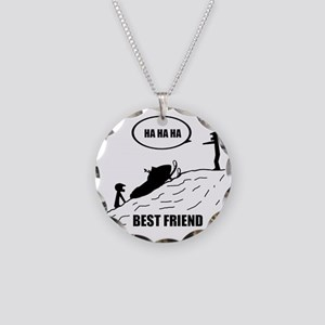 Friend / Best Friend Back Bl Necklace Circle Charm