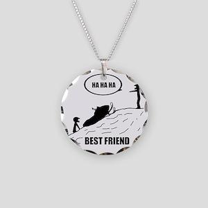 Friend / Best Friend Back Bl Necklace Circle Charm