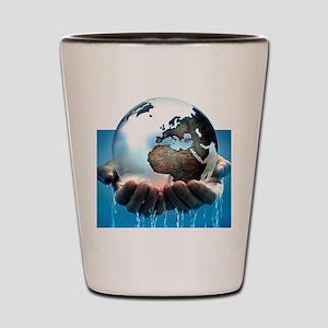 Polar ice caps melting, conceptual imag Shot Glass