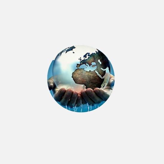 Polar ice caps melting, conceptual ima Mini Button
