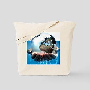 Polar ice caps melting, conceptual image Tote Bag