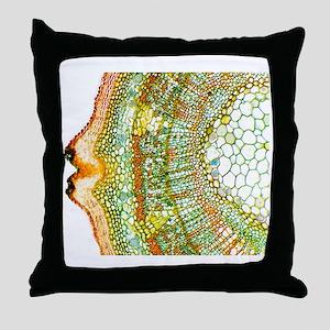 Plant breathing pore, light micrograp Throw Pillow