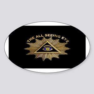 ALL SEEING EYE SMILEY FACE GE Oval Sticker