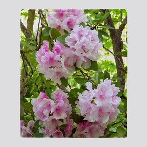 Pink rhododendron (Rhododendron sp.) Throw Blanket
