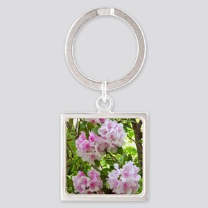 Pink rhododendron (Rhododendron sp Square Keychain